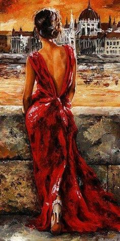 Lady In Red 34 - I Love Budapest by Emerico Imre Toth - Lady In Red 34 - I Love Budapest Painting - Lady In Red 34 - I Love Budapest Fine Art Prints and Posters for Sale Illustration Art, Illustrations, Fine Art, Beautiful Paintings, Paintings I Love, Female Art, Painting & Drawing, Figure Painting, Diy Painting