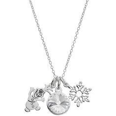 Disney's Frozen Crystal Olaf Charm Pendant Necklace ($30) ❤ liked on Polyvore featuring jewelry, white, pendant chain necklace, pendant necklace, snowflake jewelry, charm pendant necklace and disney charms