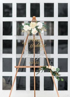 "This clear acrylic wedding sign features a full color design in a pretty floral style personalized with the couple's names and wedding date. The beautiful design is bight and sharp with a slight texture atop the smooth clear acrylic. Display this beautiful sign on an easel or any other creative way you can imagine at the entrance of your ceremony or reception - or both! This sign is so unique and so perfect for your wedding day! SIZE: 18"" x 24"" x 1/4"" thick acrylic Please write your event…"