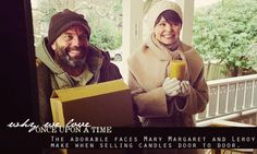 The adorable faces Mary Margaret and Leroy make when selling candles door to door!
