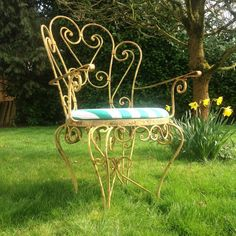 Unusual Vintage Garden Chair Iron Armchair French Style Furniture