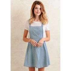 Ruche Hampshire Chambray Overall Dress (190 ILS) ❤ liked on Polyvore featuring dresses, light blue, flared skater dress, pink skater dress, flare dress, open back skater dress и open back dress