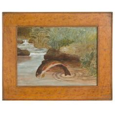 Painting Of A Leaping Brook Trout In A Sponge-decorated Frame