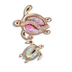 Sterling Silver Hawaiian Mother & Baby Honu Pink Opal Pendant