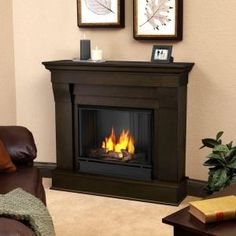 Real Flame, Chateau 41 in. Ventless Gel Fuel Fireplace in Dark Walnut, 5910-DW at The Home Depot - Mobile