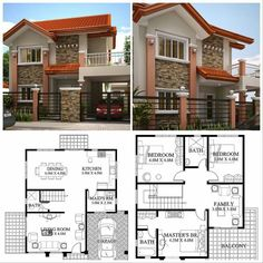 House design plan with 4 bedrooms Two Storey House Plans, My House Plans, House Layout Plans, Duplex House Plans, Family House Plans, House Layouts, Two Story House Design, 2 Storey House Design, Bungalow House Design