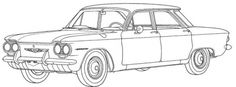 Chevrolet Corvair coloring page from Chevrolet category. Select from 31927 printable crafts of cartoons, nature, animals, Bible and many more. Super Coloring Pages, Cars Coloring Pages, Adult Coloring Pages, Coloring Pages For Kids, Coloring Books, Coloring Bible, Printable Coloring, Coloring Sheets, Car Drawing Pencil