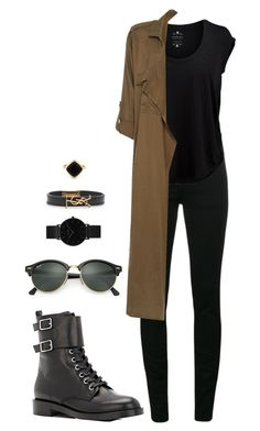 Street style by dalma-m on Polyvore featuring polyvore fashion style Velvet by Graham & Spencer Label Lab Yves Saint Laurent Gianvito Rossi CLUSE Sole Society Ray-Ban clothing
