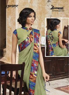 Dark Sea Green coloured Georgette Saree with Foil Print and silver foil Print added digital Striped and abstract printed lace which makes you look Simple Yet Classy setting your standards high. It is also having Silk coloured Block Digital Printed Blouse with it.