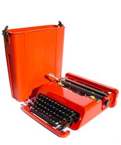 Olivetti Red Valentine Typewriter and Case, c. 1969  Ettore Sosstass, Italian