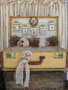 Vintage Suitcase Wedding Card Holder Shabby Chic Wedding Rustic Country Wedding