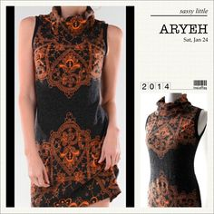"""🌺HP 7/27🌺BEAUTIFUL MOCK TURTLENECK DRESS CLEARANCE! Brown and orange sweater dress to layer or not! Trendy Aryeh design, quality craftsmanship.♦️LARGE: Bust 39"""" hips 42"""" Length: 29""""♦️90% acrylic, 10% nylon ARYEH Dresses"""
