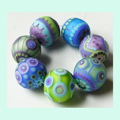 Hydrangea Goofballs 7 frosty beads lampwork by Sarah by zbeads