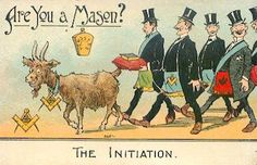 ~The Initiation~  - Are you a Mason? Masonic humour postcards.