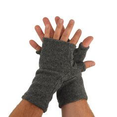 Mens Cashmere Fingerless Gloves in Rock Grey  by mirabeans on Etsy