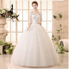 2016 Elegant Lace Wedding Dress Custom Made Floor Length Tulle Ball Gown Bridal Wedding Dresses Plus Size Vestido De NoivaYF2562