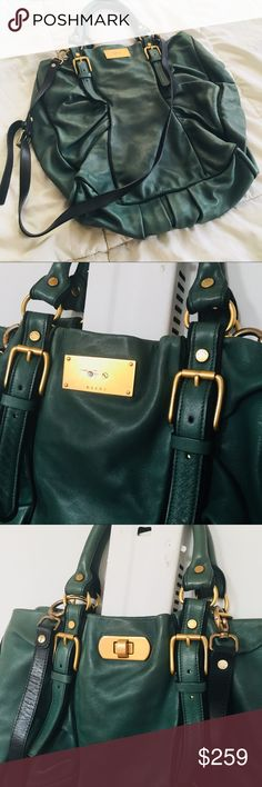 MARNI HANDBAG #Marni #original #handbag with #shoulderstrap #hobo in #olive 🍃 made of super soft #calfleather 🍃 measures 16x16 inches making it a very purposeful piece! It's been used before and it is in great condition. The interior is impeccably lined. Picture shows a fixed grommet. Marni Bags Shoulder Bags