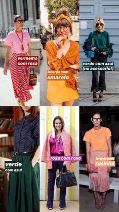 ideias para fazer combinações com cores análogas: vermelho com rosa, laranja com amarela, verde com azul, rosa com roxo, laranja com rosa. Look Fashion, Fashion Outfits, Womens Fashion, Fashion Tips, Fashion Design, Fashion Trends, Look Office, Fashion Corner, Bunt