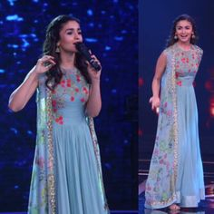 @AliaABhatt looked stunning in our sea blue, embellished jacket anarkali for a TV show .