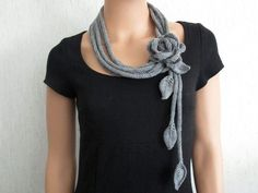 Crochet Patterns Scarf Chains long – knit scarf knit necklace with flower merino wool – a designer piece Knitted Necklace, Scarf Necklace, Strand Necklace, Flower Necklace, Spool Knitting, Knitting Socks, Free Knitting, Crochet Scarves, Knit Crochet