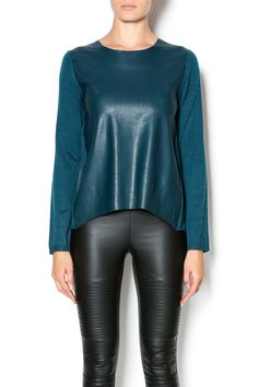 Faux leather front sweater in a beautiful teal hue. This top is sure to be your go-to piece for instant style.   Teal Sweater by Olivaceous. Clothing - Sweaters - Crew & Scoop Neck Utah