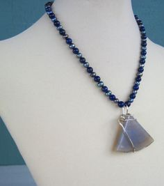 Wire Wrapped Agate Necklace A Grade Lapis by MissBusyBeeJewelry, $35.00