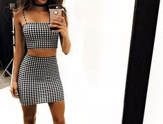 Women Sleeveless Plaid Crop Top Blouse+Short Skirt Casual Two Piece Set Mini Dresses