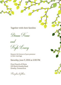 Greens Wedding invitation template - print at home