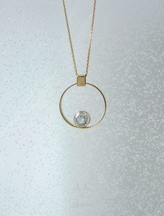 "Yellow gold circle pendant with white topaz ""Helium"" (He). Collection of ""Elements"" by ""ivi"". Etsy Jewelry, Jewelry Accessories, Jewelry Design, Wedding Ring Necklaces, Wedding Rings, Jewelery, Jewelry Necklaces, Diamond Solitaire Necklace, Pendant Design"
