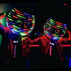 LED Disco Head Dancers to hire - perfect for bonfire night events as can be seen across large areas when dark.