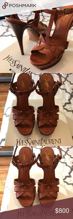 YSL Tribute Sandal Cognac 39 RARE! Yves Saint Laurent Tribute Sandal in Cognac leather size 39. Gently worn and loved. 105mm heel. Stored in box with tissue paper. Replacement heel taps included. Smoke and pet free home. Yves Saint Laurent Shoes Heels