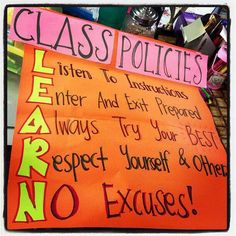 """Class rules, change N to """"Never give up!"""""""