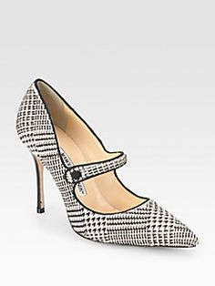 Manolo Blahnik - Campari Houndstooth Calf Hair Pumps