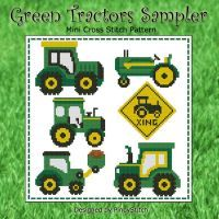 Green tractors sampler is a fun cross stitch project! Stitch them individually or as a sampler.      Mini Cross Stitch Pattern: Green Tractors Sampler
