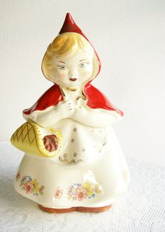 Cookie Jar Hull Little Red Riding Hood Vintage Pottery 1940s via Etsy