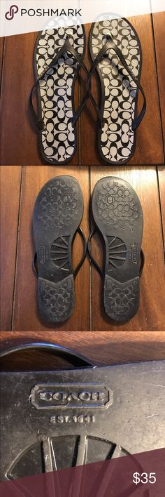 sale Coach Black & Gray Lyra Jelly Flip Flops Worn twice good condition Coach Shoes Sandals