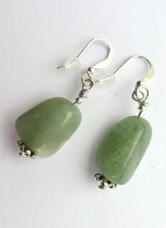 Green Jade Nugget Earrings Natural Nephrite Jade, #MossGreenJadeNuggetEarrings, #IsleOfCraftin