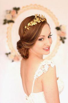 Greek Goddess Laurel Leaf Crown Gold Tiara Gold by AnnaMarguerite