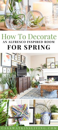 global style room styled with plants, planters, and more for spring #bhglivebetter #bohostyle