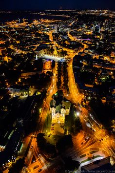 The Centre of Tallinn at night - the Lutheran church in Tallinn, Charles Church, surrounded by avenues