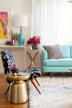 Eclectic Living Room with West Elm Heath Sofa, West elm martini side table, Sheer curtain panels, Souk Wool Rug