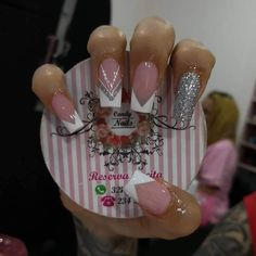 Manicure Nail Designs, French Manicure Nails, French Nails, Love Nails, Pink Nails, My Nails, Cute Nail Colors, Diamond Nails, Elegant Nails
