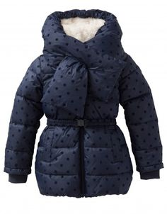 Lovely winter coat in deep blue with a velvet polka dot.