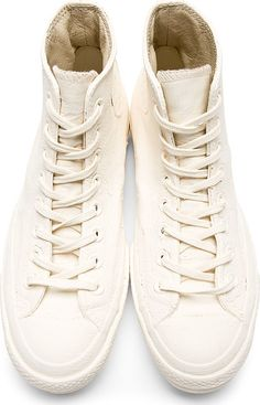 Converse x Maison Margiela White & Orange Painted High-Top Sneakers
