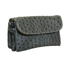 Dk Gray Faux-Ostrich Wallet, Convertible Shoulder Bag-Crossbody-Wristlet-Clutch * More info could be found at the image url.