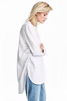 Блузка с кулисками - Белый/Полоска - Женщины | H&M RU 1