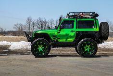 forgiato Jeep Wrangler green chrome cargo basket grille bumpers rock guards body armor flat top fenders led light bars