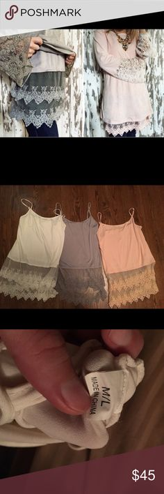 THREE lace extenders. Three lace extenders. They are all size M/L. They are all in perfect condition except the white one that has a black mark on it.(showed in the last picture). The colors are white, gray, and light pink. Sass Chic Tops Camisoles