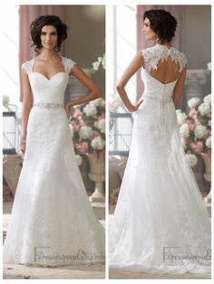 Lace, tulle and organza over luxurious satin slim A-line cage wedding dress with lace cap sleeves, tulle and lace appliqued deep Queen Anne neckline, sweetheart bodice features draped lace accented with hand-beaded lace appliqu
