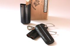 2 cigar travel cases leather for each 2 cigars / by wohnraumformer